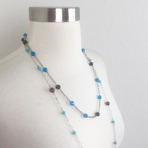 Silver beaded layered necklace
